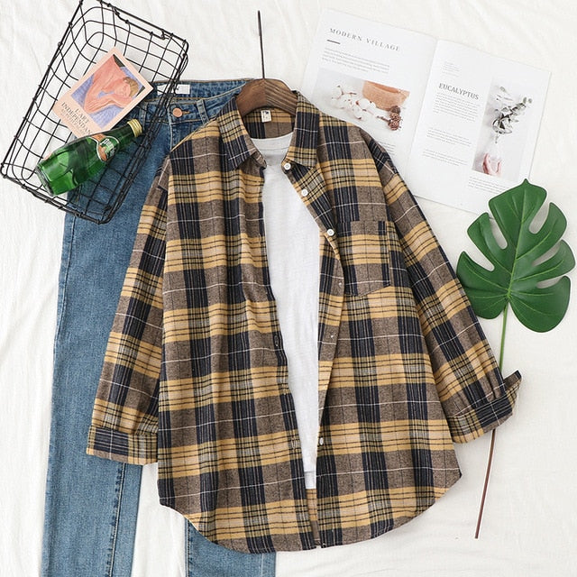 Plaid Shirts Women Top And Blouses Long Sleeve Oversized Cotton