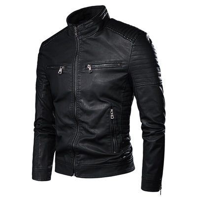 DIMUSI Men's Jacket Fashion Mens Vintage Leather Jackets Casual Men