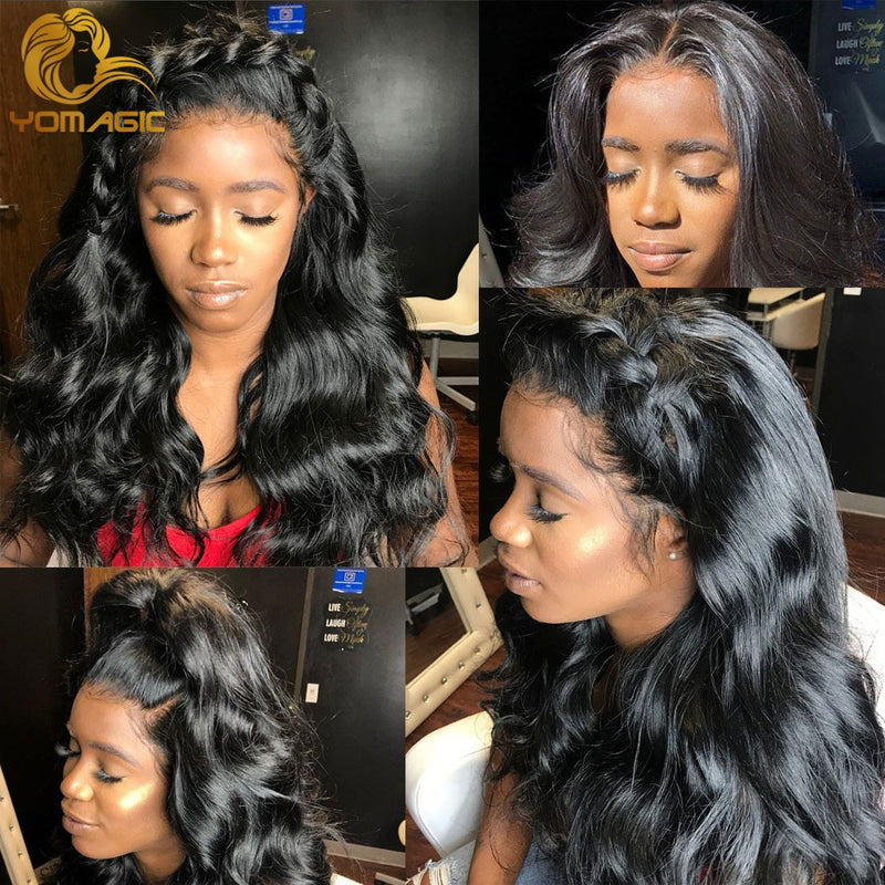 Yomagic Hair Body Wave 13*6 Lace Front Wigs for Women Black Color