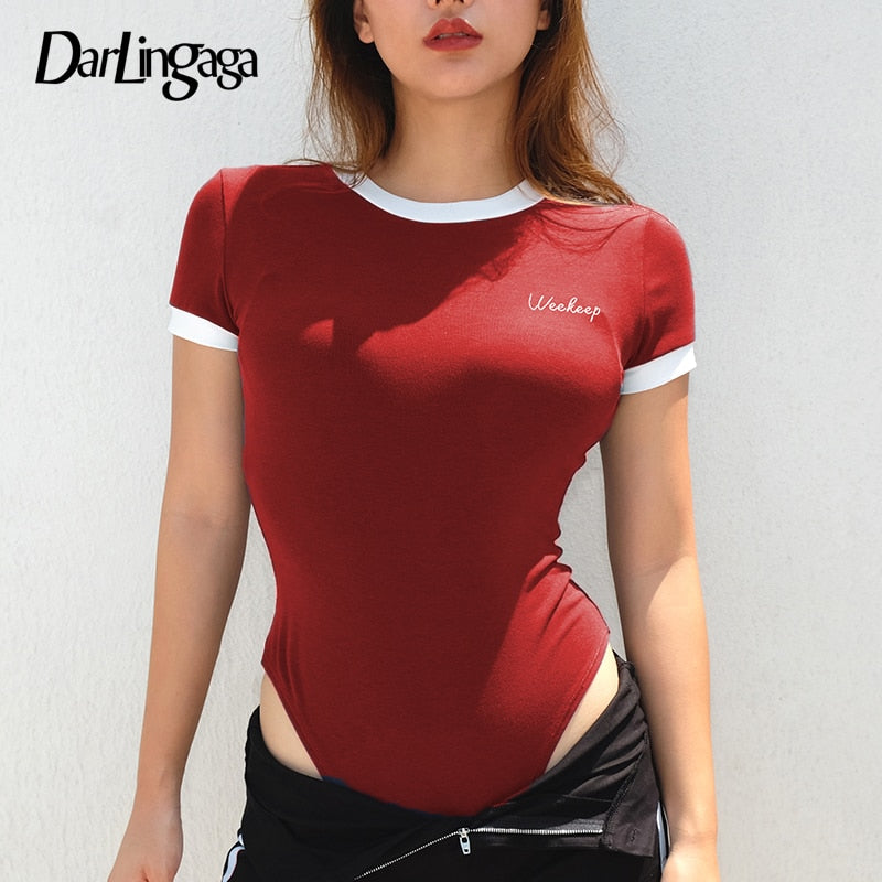 Darlingaga Cotton casual short sleeve summer bodysuit women letter