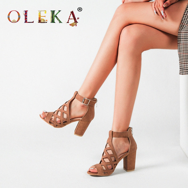 OLEKA 2020 New High-heeled Banquet Ladies Sandals Breathable Perforated Design Khaki Comfortable Summer Heels Sandals Women AS53