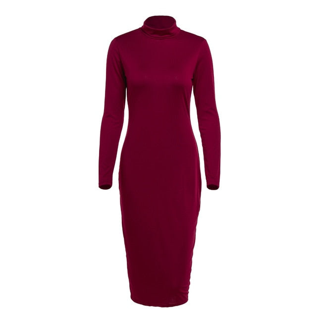 Fashion Clothing Women Lady Solid Dress Women Long Plain Sleeve