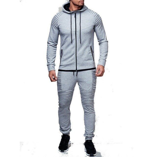 ZOGAA 2 Pieces Sets Tracksuit Men New Brand Autumn Winter Hooded