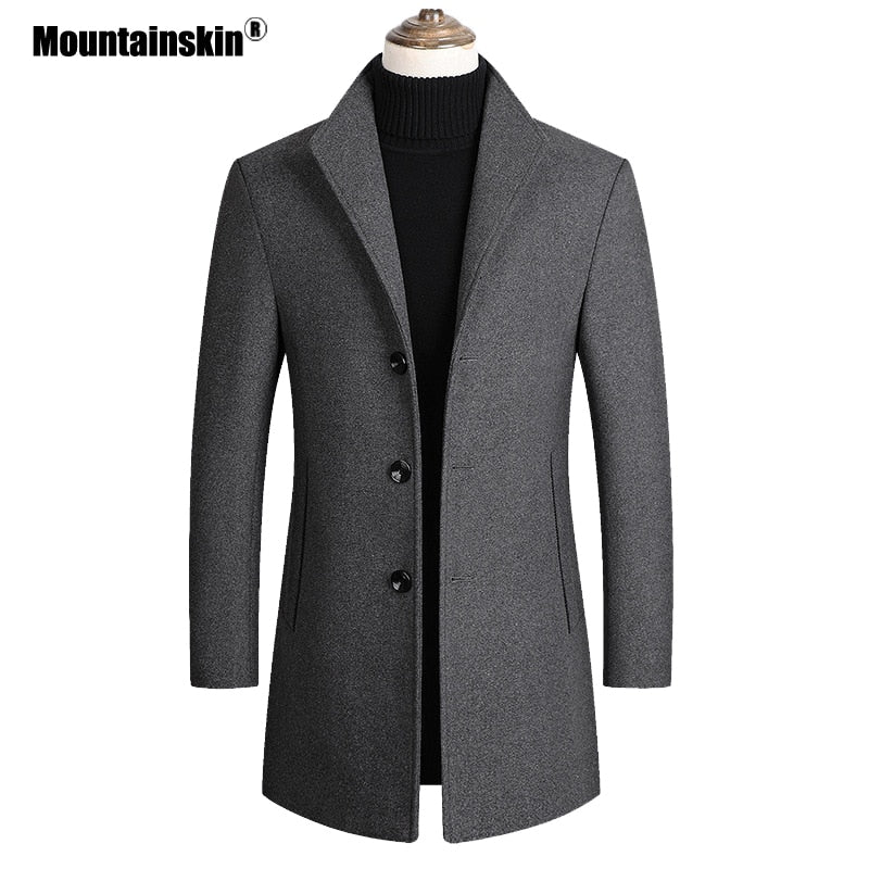 Mountainskin Men Wool Blends Coats Autumn Winter New Solid Color