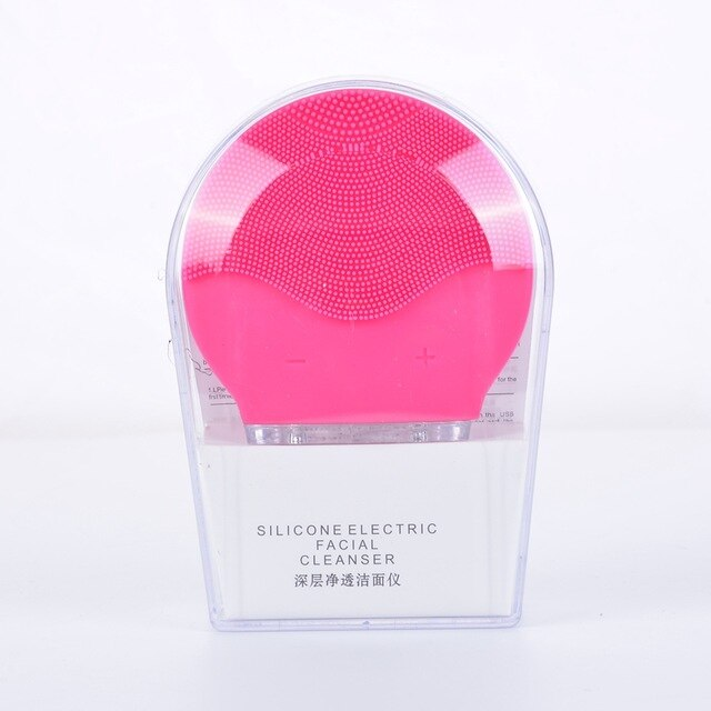 Facial Cleansing Brush Massager Heating Electric Silicone Pore Cleaner