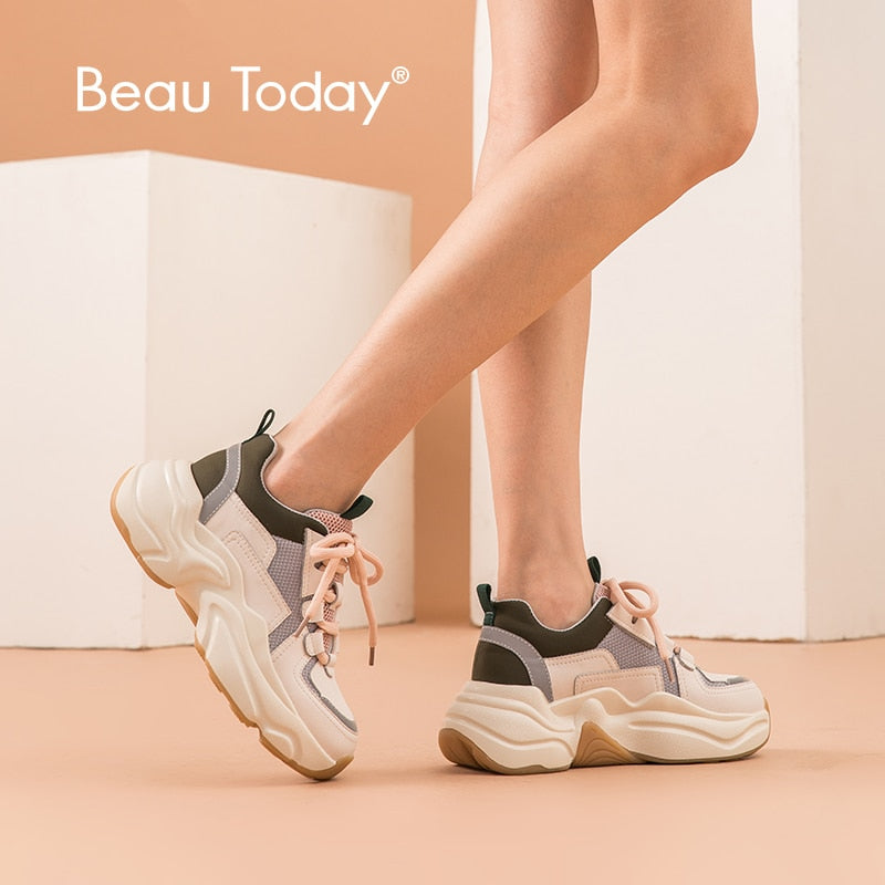 BeauToday Chunky Sneakers Women Genuine Cow Leather Cross-Tied Retro Platform Wedge Fashion Shoes Mixed Colors Handmade 29324