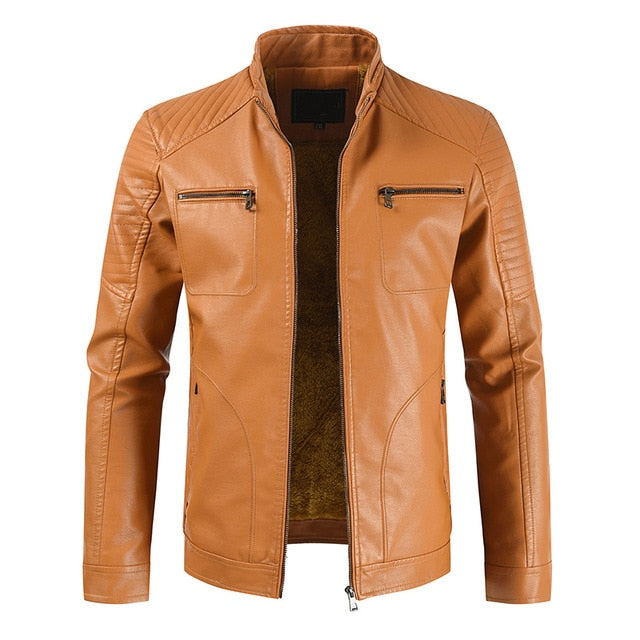 2020 Men Spring New Vintage Casual Style Fleece Leather Jackets Coat