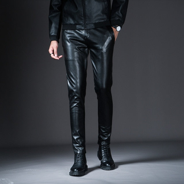 New Winter Spring Men's Skinny Leather Pants Fashion Faux Leather