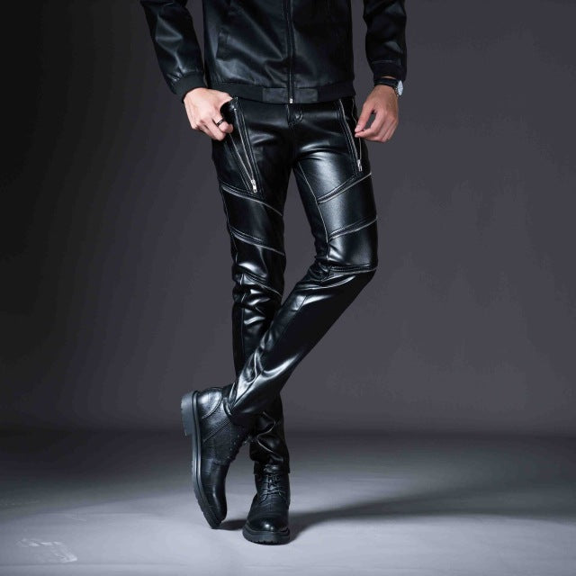 New Winter Spring Men's Skinny Leather Pants Fashion Faux Leather - Any.shopping