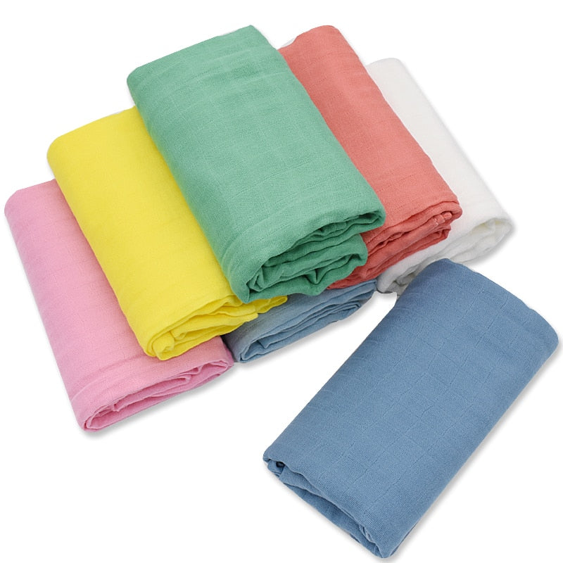 120x120cm Bamboo Cotton Muslin Baby Swaddle Blanket Solid Color