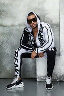 ZOGAA Mens Tracksuit Autumn Casual Men Outfit Letter Print Hooded