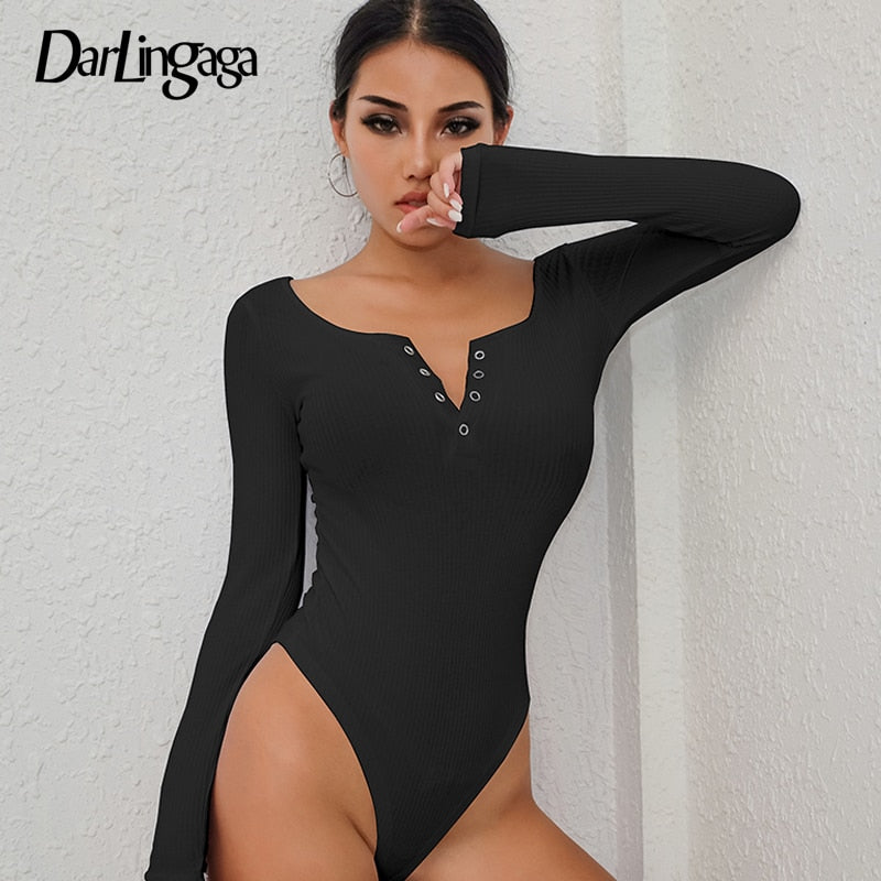 Darlingaga Autumn winter sexy black bodysuits skinny buttons