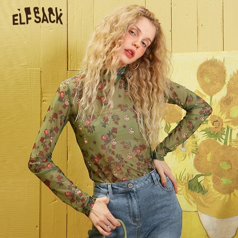 ELFSACK Green Floral Print Chiffon Thin Fishnet Blouse Mesh Women