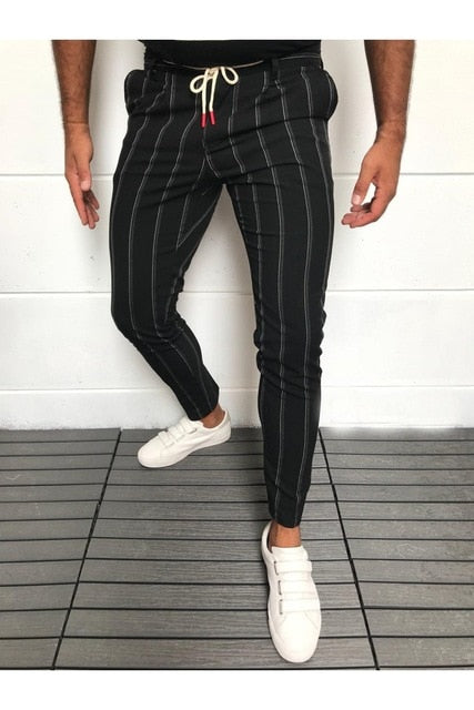 Men's Formal Trousers Fashion Business Wide Striped Noble Dress Lace - Any.shopping