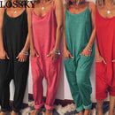 LOSSKY Casual Loose Solid Strap Jumpsuit Sexy Sleeveless Pocket
