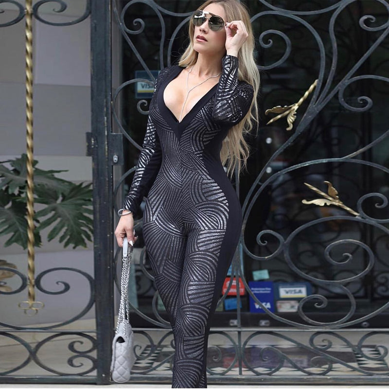 Ocstrade Bandage Jumpsuit 2020 New Women Metallic Black Long Sleeve