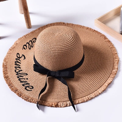 Handmade Weave letter Sun Hats For Women Black Ribbon Lace Up