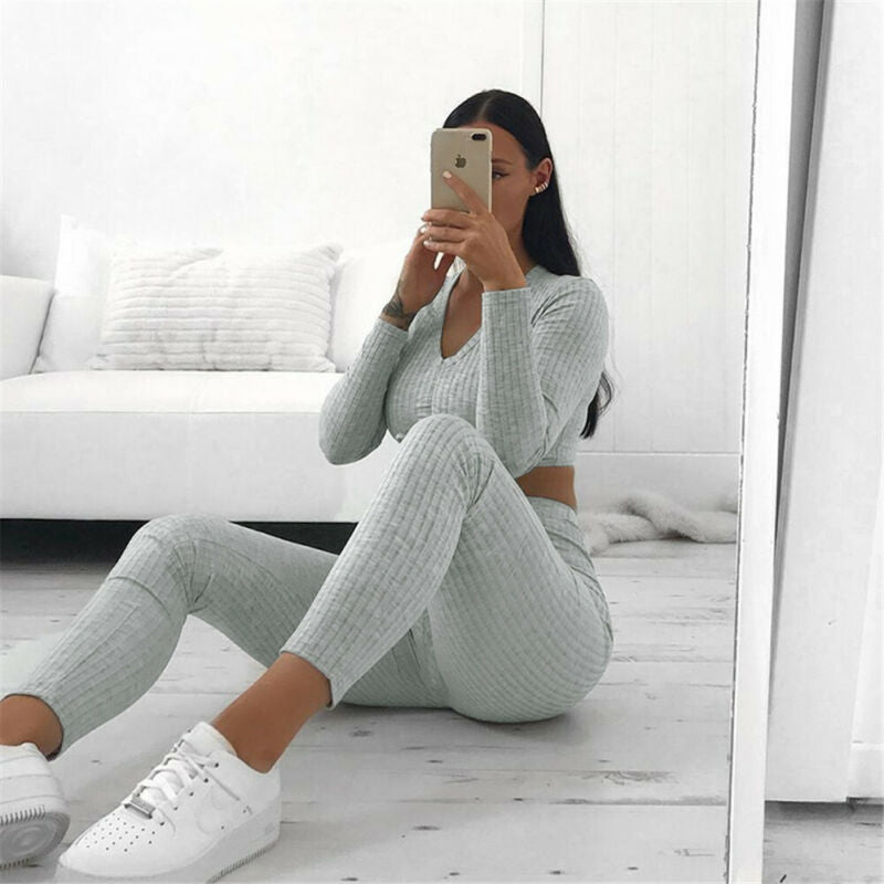 Women Knitted Lounge Wear Sets 2pcs Crop Top Suit Ladies Tracksuit - Any.shopping