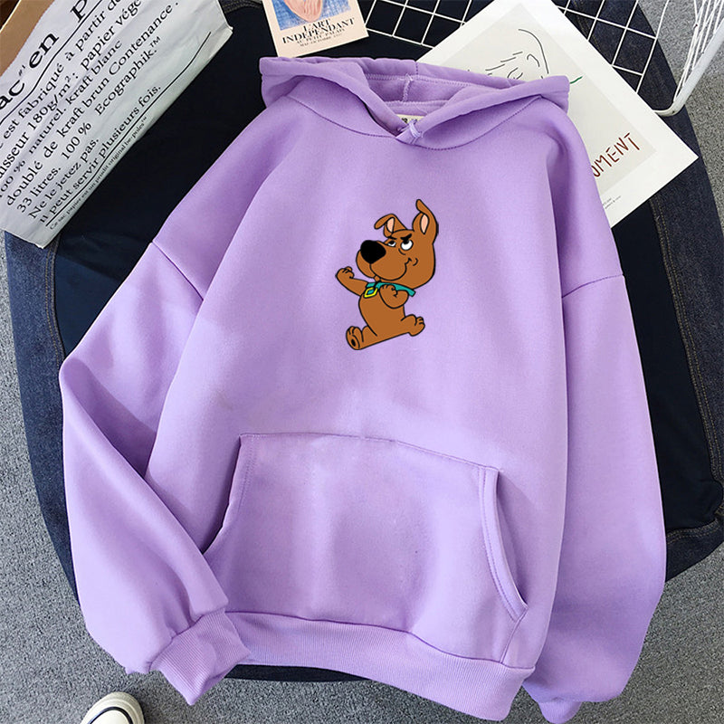 Winter Women's Hoodies Full Sleeve Hoodie Cute Dog Print Sweatshirt