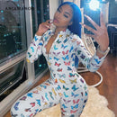 ANJAMANOR Butterfly Print Sexy Long Sleeve Bodycon Jumpsuits for Women