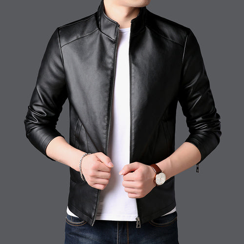 2019 New PU Leather Jackets Men Stand Collar Coats Size 4XL Fashion