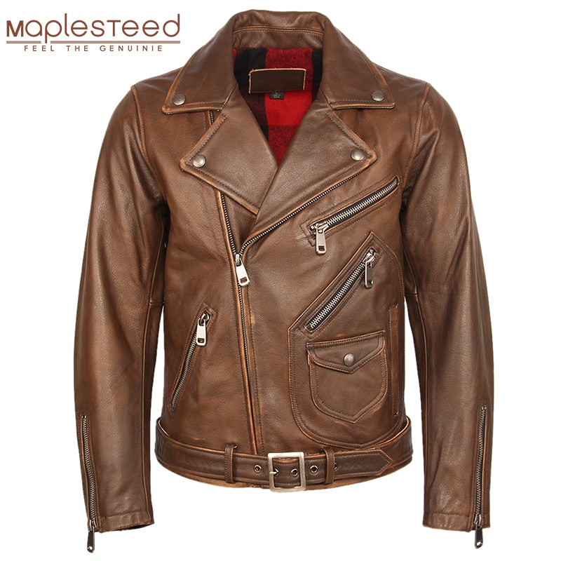 Vintage Motorcycle Jacket Men Leather Jacket Thick 100% Natural