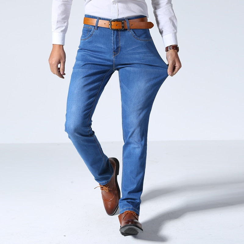 2018 Summer New Men's Thin Light Jeans Business Casual Stretch Slim