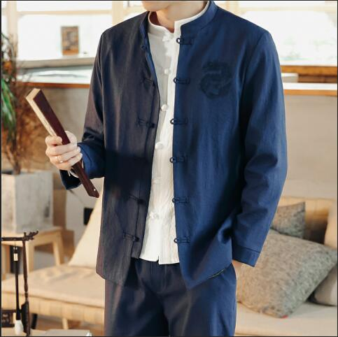 Single-breasted men jacket and pants Chinese style embroidery men