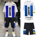 Men Summer Loose Sets 2 Pieces Tooling Shorts+Short Sleeve T-shirt