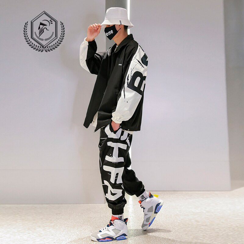 Men Loose Casual Sport Jacket Fashion Print Hip Hop Sets - Any.shopping