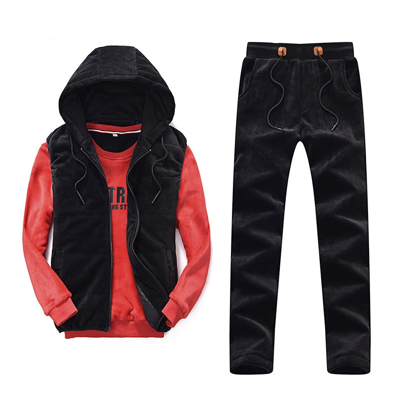 Men's Winter Thick Sports 3-piece Set Hooded With Velvet Jogging