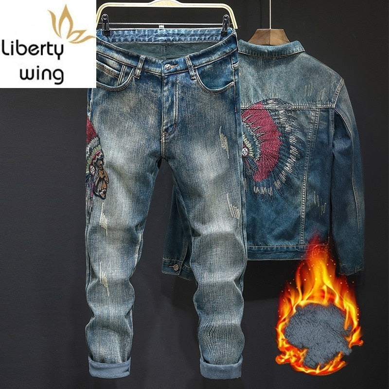 Thick Fleece Lining Embroidery Ripped Men Winter Plus Size Denim - Any.shopping