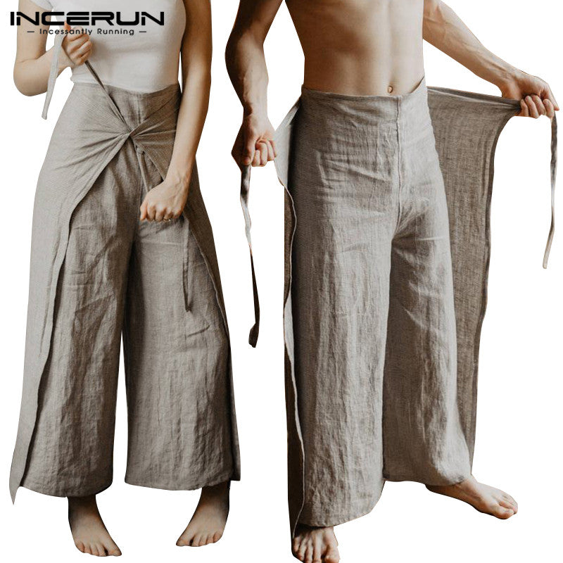 INCERUN Men Thai Fisherman Pants Loose Vintage Solid Color Women