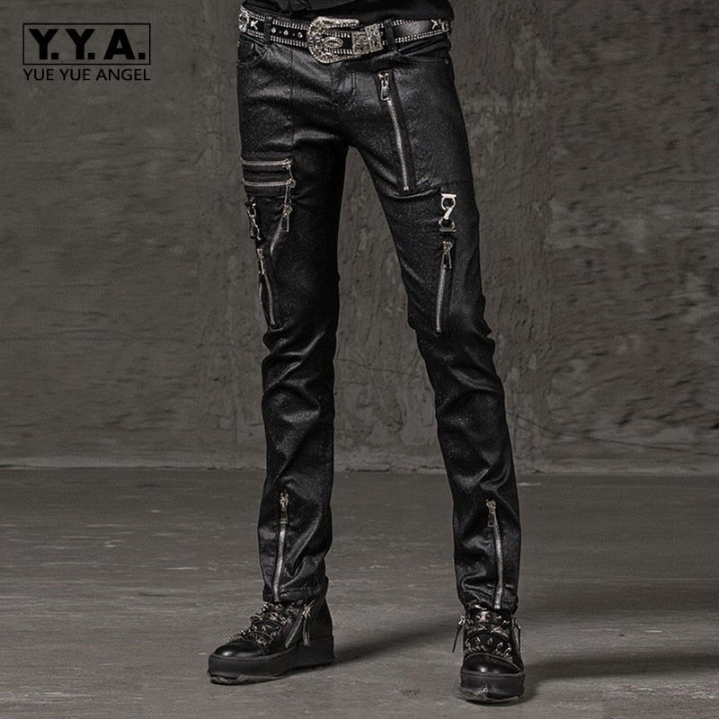 2020 New Fashion Solid Men Slim Fit Pencil Pants Punk Style Hip Hop