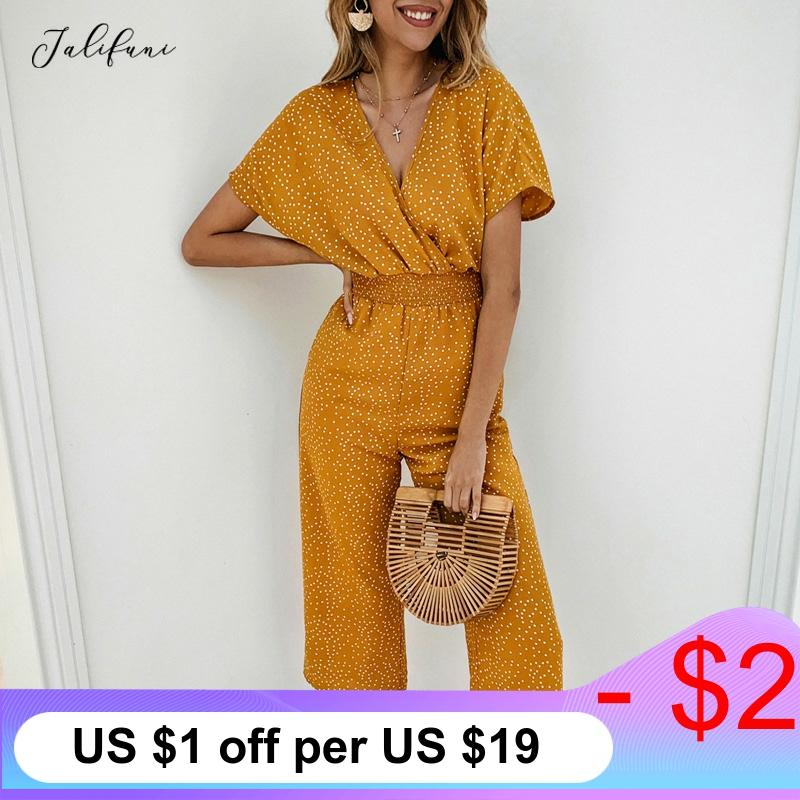 Women Jumpsuit Rompers Summer Loose High Waist Wide Leg Jumpsuit