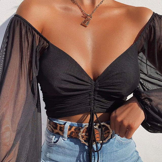 Cryptographic Drawstring Ruched Sexy Blouse Women Puff Sleeve Off Shoulder
