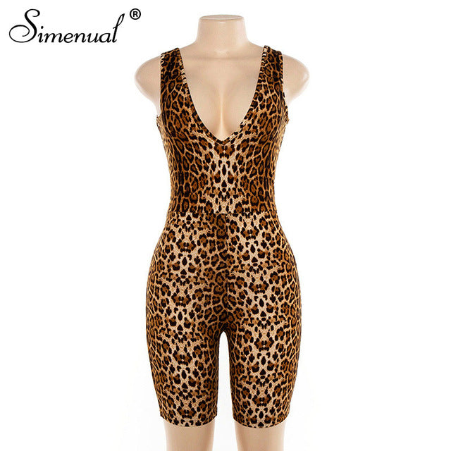 Simenual Leopard V Neck Fitness Biker Playsuits Sleeveless Sexy