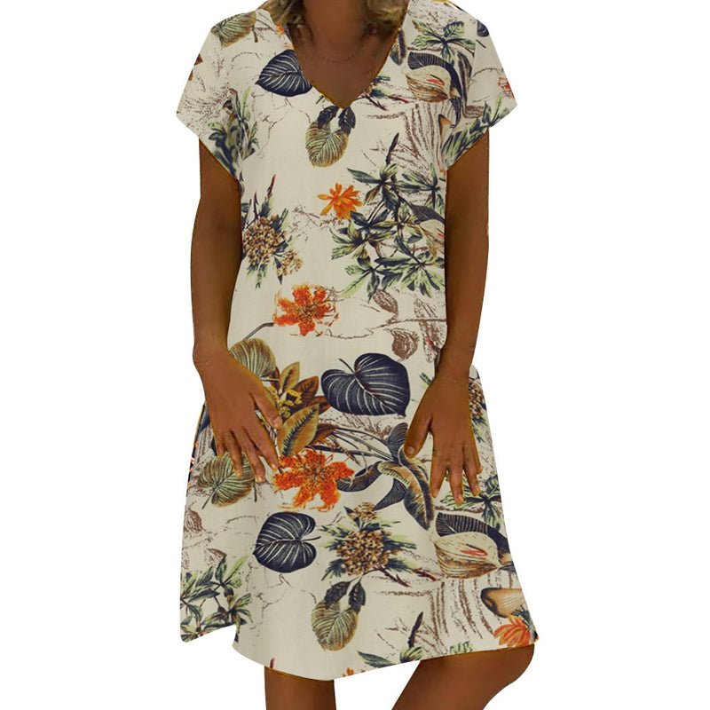 Women Short Sleeve Dress Floral Printed V Neck Summer Beach Cotton