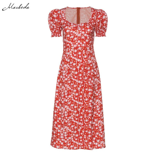 Macheda French Romance Retro Dresses Women Casual Floral Print