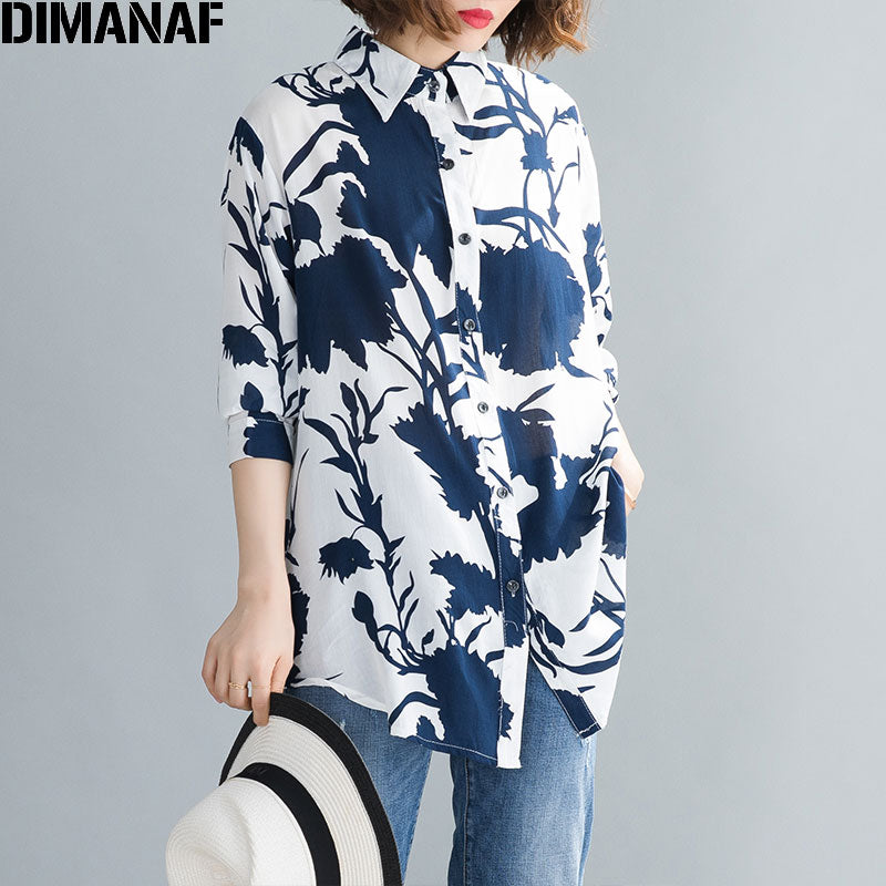 DIMANAF Plus Size Women Shirts Spring Summer Lady Tops Tunic