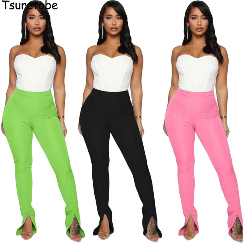 Tsuretobe Split Streetwear Sweatpants Women Clothes 2020 Flare Pants