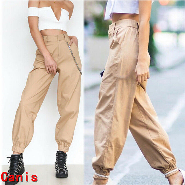Plus Size Pants Sexy Women Casual High Waist Cargo Pants Women