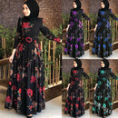 Abaya Muslim Dress Women Islamic Full Sleeve Floral Flower Casual