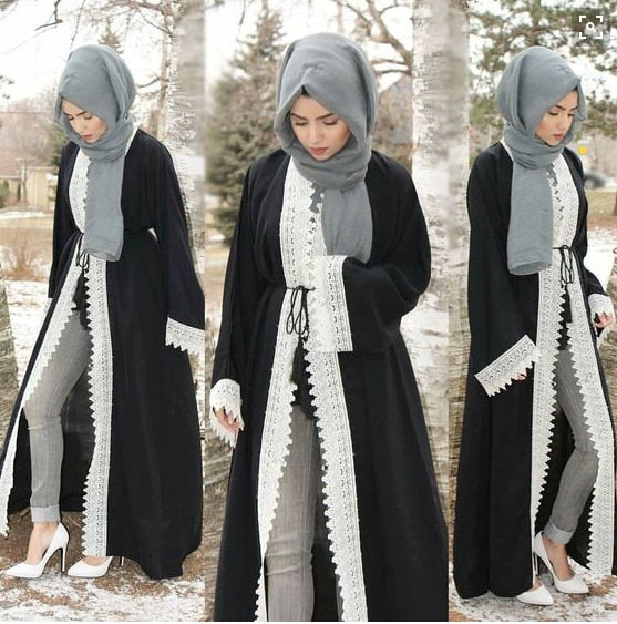 Women Lace Crochet Hollow-out Kimono Abaya Long Sleeves Black