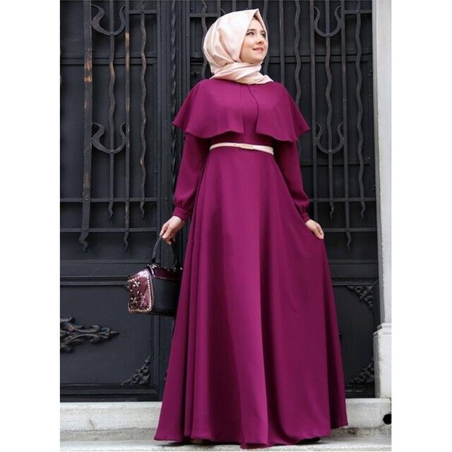 2019 New Cape Poncho Neck Muslim Dresses Big Size Ladies Chiffon