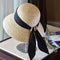 Wide Brim Cloche Straw Hat for Women UPF50 Sun Hat Black Ribbon