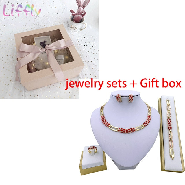 Liffly Women Dubai Jewelry Sets Luxury Bridal Nigerian Wedding