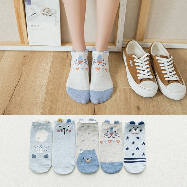 5Pairs/Lot Summer Korea socks women Cartoon Cat Fox mouse Socks Cute Animal