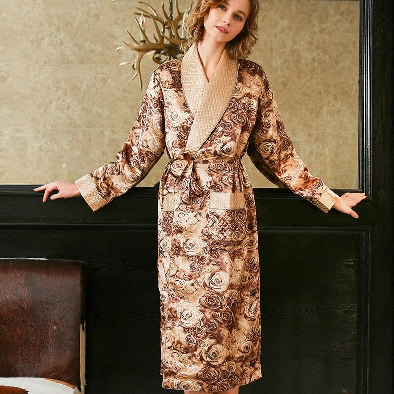 Woman Silk Robes Floral Print Two Layer Autumn Winter Full Sleeve