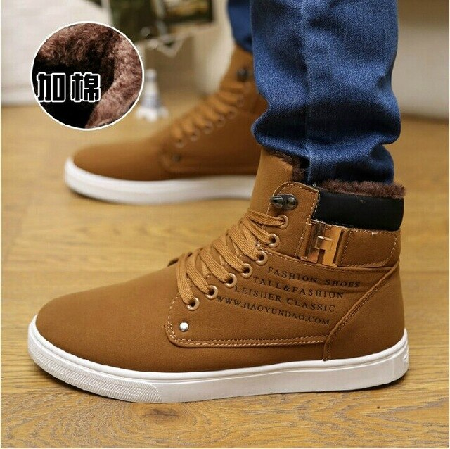 Ankle boots warm men snow boots winter Lace-up men shoes  new arrival fashion flock plush winter boots men 2020